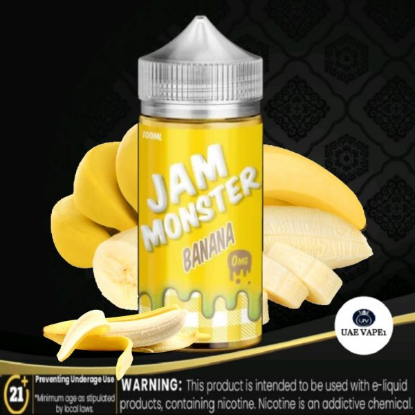 Banana E-liquid by Jam Monster 100ml range is a cool burst of your favorite flavor to give you that brisk and refreshing taste like a fruit smoothie on a summer day.